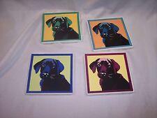 Square Pop Art Inspired Black Lab Ceramic Coasters Set Of 4 4in