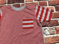Vintage 80s 90s Womens shoulder pads Red Gray Striped boyfriend t shirt top M/L
