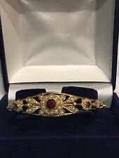 Vintage Style 9ct. 9k. 375. Gold Garnet & Pearl Bracelet/Bangle