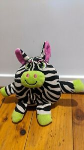 Small Laughing Colourful Zebra Plush Toy Battery Operated Black White Pink Green