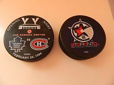 1999-2000 Toronto Maple Leafs pucks 'Opening Night' Air Canada Center + ALL STAR