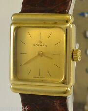 GOLANA Incabloc 1516 - Damenuhr / Handaufzug / vergoldet & Lederarmband