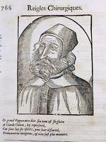Claude Galien 1585 Chirurgie Médecine Hippocrate Ambroise Paré Rare Gravure