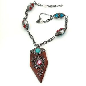natural Wood Pendant coral turquoise pearl Black Macarsite pave Chain Necklace
