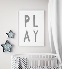 Play Letters Star Unisex Grey Cool Nursery Print Kids Room Wall Art Picture Gift