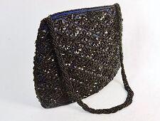 Small Purse/Hand Bag ~ Black Beads & Sequins on Deep Purple Fabric, #CHBP19