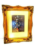 Vintage Hanging Wall Painted Picture with Gilded Gold Ornate Frame