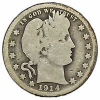 1914-S 25c Silver Barber Quarter - Key Date Coin - SKU-X768