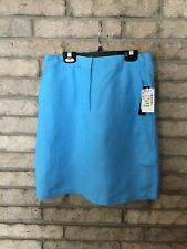 LARRY LEVINE SPT SKIRT Linen Rayon SZ 6 NEW w TAGS- BLUE- MSRP $50 ABOVE KNEE