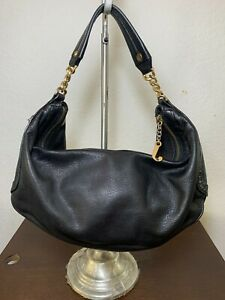 Juicy Couture Black Carry-all Leather Hobo Shoulder Tote Purse Bag