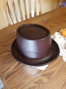 Handmade Leather Porkpie Hat.  Veggie tanned and dyed dark red. 24.25 inch - XL