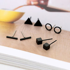 Simple Silver/Gold/Black Cubi Geometric Stud Earring 4Pair/Set Wome Girl Jewelry