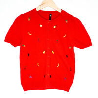Dangerfield Womens Red Short Sleeve Fruit Embroidered Button Up Cardigan Size 10