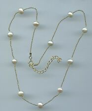 "16"" TO 18"" LONG 925 GOLD VERMEIL, FRESHWATER PEARL BY THE YARD NECKLACE"