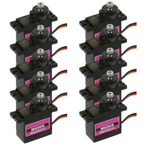 10PCs MG90S Micro Metal Gear 9g Servo for RC Plane Helicopter Boat Car 4.8V-6V