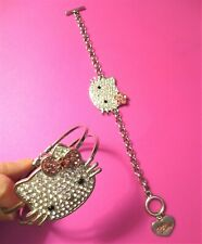 0025c63fd 2 SILVER TONE HELLO KITTY CLEAR & PINK RHINESTONE BANGLE & CHAIN LINK  BRACELET