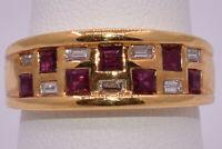 Ruby & Diamond Checkerboard Ring in 18K Yellow Gold