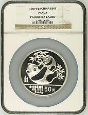China 1989 5 oz 50Yuan Silver Proof Panda - NGC PF68UC - SN:2798523-004