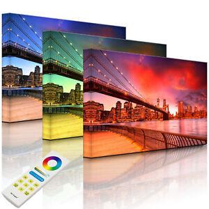 Beleuchtetes Bild LED Leuchtbild - Brooklyn Bridge Park New York