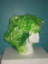NEW Neon GREEN Feather Accent WIG Punk Rock Anime Sexy Zombie Costume