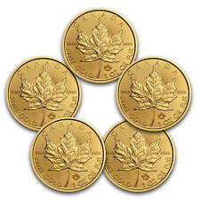 2017 Canada 1 oz Gold Maple Leaf BU (Lot of 5) - SKU #117468