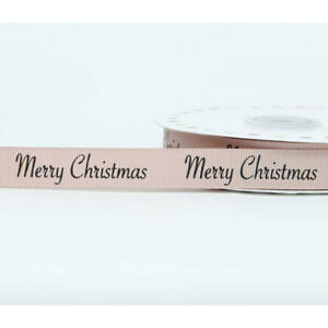 Merry Christmas contemporary beige rustic brown cross grain ribbon 16mm FREE P&P