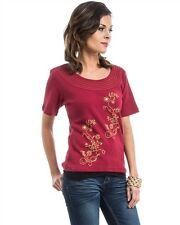 NEW! VENUS Burgundy RIBBED Cotton TOP w/ Floral GRAPHIC ~ MEDIUM / Bust to 34""