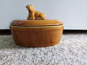 Vintage/ Retro Jersey Cow Butter Dish Brown Pottery