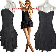 Dolce & Gabbana D&G Draped Black Silk Tiered Ruffle hem mini Corset Dress