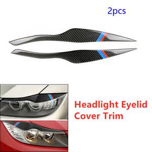 2Pcs Headlight Eyelid Cover Decoration Sticker Carbon Fiber Car Fit for BMW E91