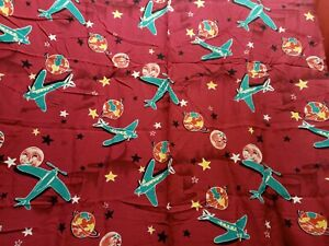 "2 yds x 44"" wide amazing vintage fabric planers planes moon stars cosmic"