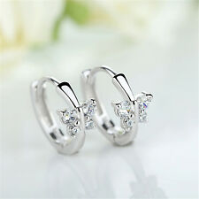 Cute Zircon Butterfly Ear Clip Cuff Ear Stud Earrings Hypoallergenic Silver