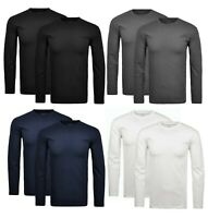 Mens Heavy Cotton Plain Long Sleeve Crew Neck Tee Casual Top Tshirt S-3XL 2 Pack