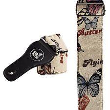 BEIGE Retro Vintage Extra Wide Butterflies Guitar Strap soft ladies girls cool