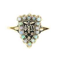 Antique 14k Gold Cabochon Opal Halo w/ Black Enamel & Medical Symbol Shield Ring