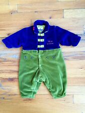 SERGENT MAJOR French Boutique Blue Green Fleece Velvetine Onsie Sz 6M ADORABLE