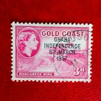 QE11 GOLD COAST / GHANA  POSTAGE STAMP USED 3d O/P G.I. 6th march 1957