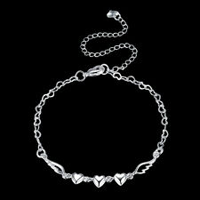 925Sterling Silver Fashion Jewelry Heart Wing Woman Anklets Bracelet AY092