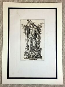 1890 Antique Engraving Hans Holbein Archangel Michael Weighing Souls St Michael
