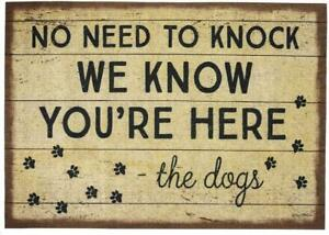 """Dog Lover No Need to Knock We Know You're Here-- Welcome Mat Rug 34"""" x 20"""" Gift"""
