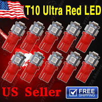 10 X Red T10 5-SMD 5050 LED Interior License Plate Light bulbs W5W 2825 158 192