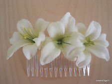 Triple Cream White Lily Silk Flower Hair Comb,Pin up,Updo,Rockabilly,Bridal