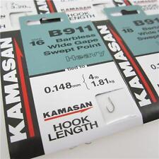 5 X KAMASAN B911 Hooks to Nylon Barbless/heavy PNP 16 Hook 4lb Line