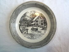 "Jeannette Royal China Currier & Ives Black and White 10"" Pie Plate"