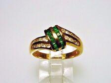 Genuine Emerald-Diamond Ring on 14-kt Gold, Channel-set, Splendid Design (#2361)