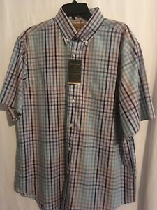 Roundtree Yorke Gold Label Men SS Shirt Cotton Sz L Green Blue Red Gold Chks NWT