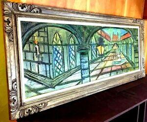 "Original Impasto Oil Painting VENICE COURT YARD Van Hoople Mid Century 28x66"""