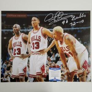 "Dennis Rodman signed ""96 Bulls 72-10"" 16x20 Photo Autograph ~ BAS COA"