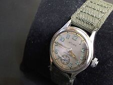 1941 WWII MILITARY STYLE MEN'S ATLAS  WATCH STERLING SILVER CASE 17 JEWELS