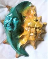 Folk Art Sun Moon Wall Sculpture, Handmade Cast Stone Original by Claybraven